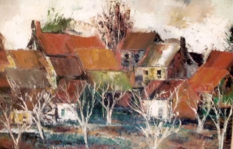 Le village en hiver, v. 1956